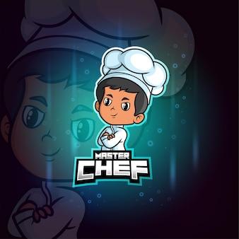 Kolorowe logo mistrza kuchni maskotka esport