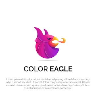 Kolorowe logo orła głowy z ilustracjami w nowoczesnym stylu koncepcyjnym na odznaki, emblematy i ikony