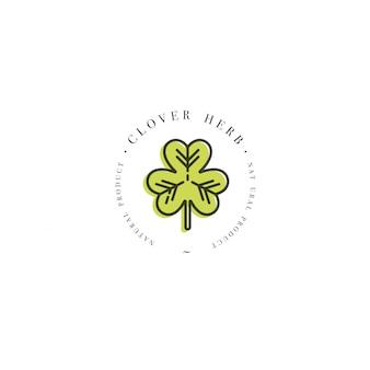 Kolorowe logo szablon i godło zdrowej ziela koniczyny. logo w modny styl liniowy na białym tle.