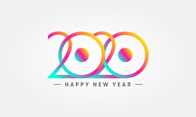 Kolorowe logo szczęśliwego nowego roku 2020
