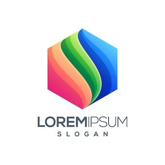 Kolorowe logo sześciokątne gradientu