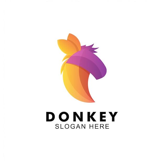Kolorowe logo z koncepcją głowy osła