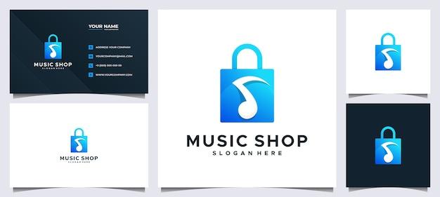 Kolorowe logo zakupów i wizytówka, z koncepcją torby i muzyką nutową
