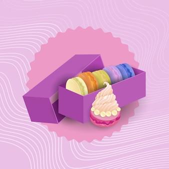 Kolorowe macarons ustaw deserowy słodki piękny wyśmienicie jedzenie