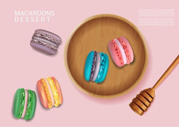 Kolorowe makaroniki miska wektor realistyczne. 3d szczegółowe ilustracje