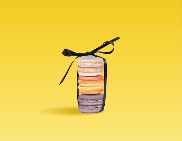 Kolorowe makaroniki ustawione w dziobie wektor realistyczne. 3d szczegółowe ilustracje