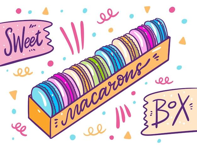 Kolorowe makaroniki zestaw ilustracji kolekcji