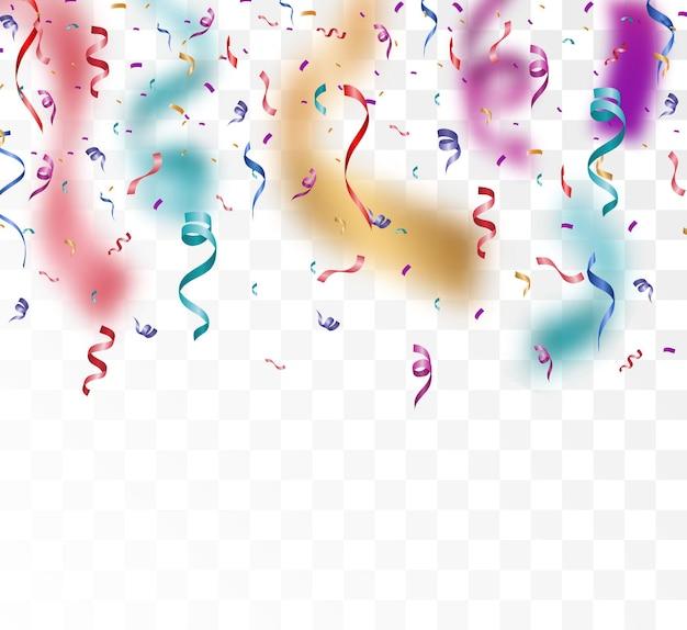Kolorowe małe konfetti i wstążki