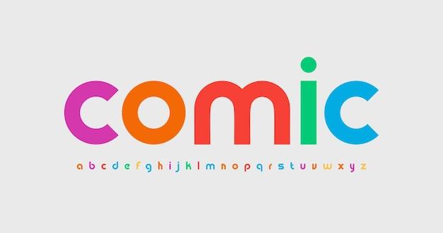 Kolorowe małe litery alfabetu śmieszne czcionki dla dzieci typ komiksu dla dzieci logo zabawny nagłówek kreatywny