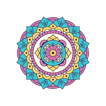 Kolorowe mandali na białym tle