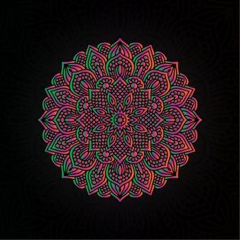 Kolorowe mandali wektor ręcznie rysowane okrągły element geometryczny dla henny, mehndi, tatuaż, ozdoba, tekstylne, wzór, tło zaproszenie