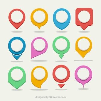 Kolorowe map lokalizatory asortyment