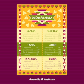 Kolorowe meksykańskie menu restauracji
