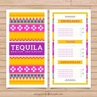 Kolorowe meksykańskie menu szablon z ornamentami etnicznymi
