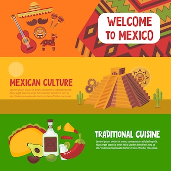 Kolorowe meksykańskie poziome bannery z tradycyjną kuchnią meksykańską