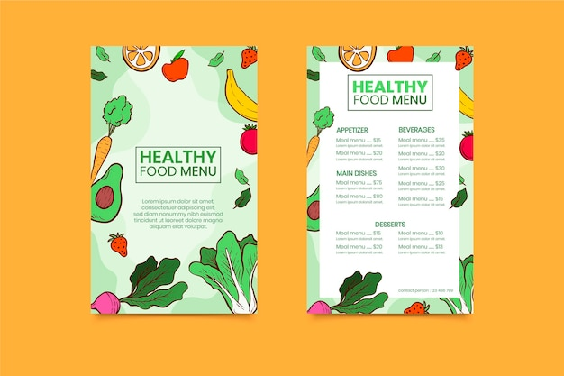 Kolorowe menu restauracji dla zdrowego jedzenia
