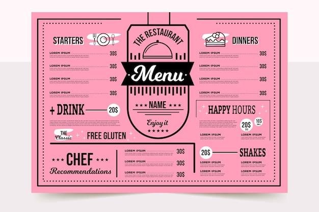 Kolorowe menu restauracji ze specjalnymi szefami kuchni