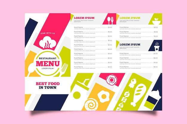 Kolorowe menu szablon restauracji