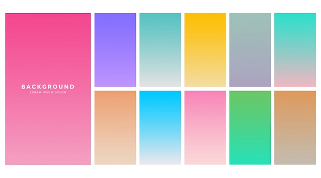 Kolorowe miękkie gradienty ustawione dla aplikacji mobilnej