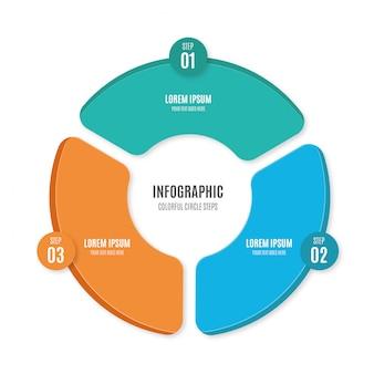 Kolorowe, minimalistyczne kroki infographic