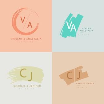 Kolorowe minimalistyczne monogramy ślubne w pastelowych kolorach