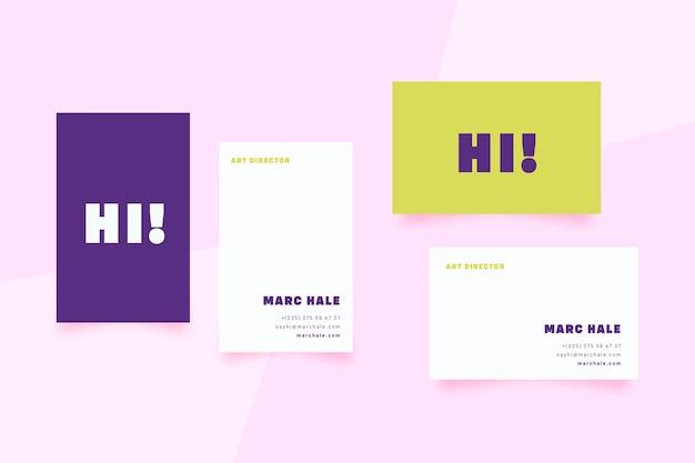 Kolorowe minimalne szablon wizytówki
