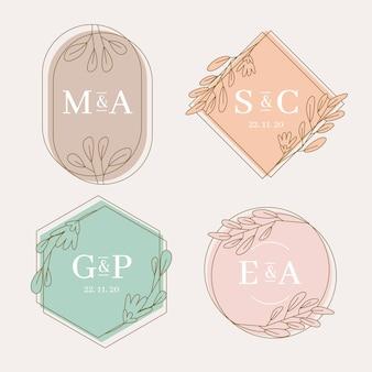 Kolorowe monogramy ślubne koncepcja
