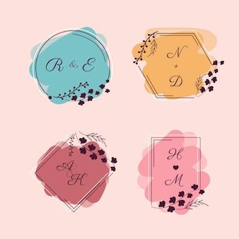 Kolorowe monogramy ślubne tematu