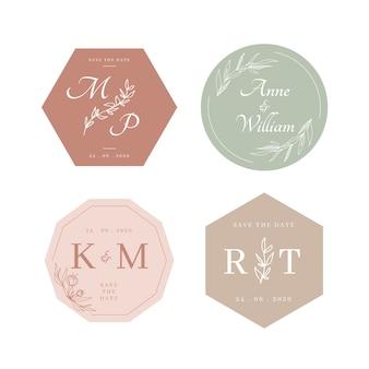 Kolorowe monogramy ślubne