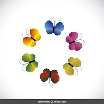 Kolorowe motyle dystrybuowane w formie okrągłej