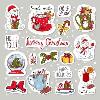 Kolorowe naklejki zestaw ikon. elementy świąteczne i noworoczne.