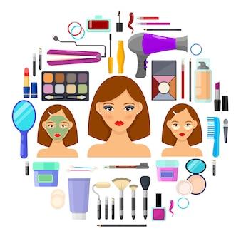 Kolorowe narzędzia do makijażu i piękna na białym tle. ilustracja wektorowa.