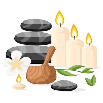Kolorowe narzędzia i akcesoria spa czarne kamienie bazaltowe do masażu zioła zaprawa i świece ilustracja na białym tle strony internetowej i aplikacji mobilnej