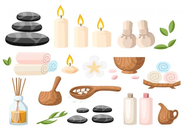 Kolorowe narzędzia i akcesoria spa czarne kamienie bazaltowe do masażu zioła zaprawa zwinięte ręcznik olej żel i świece ilustracja na białym i niebieskim tle