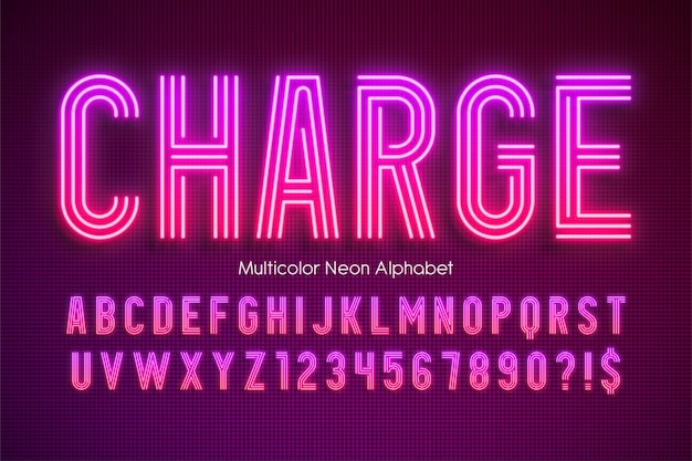 Kolorowe neonowe alfabet