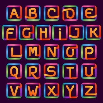 Kolorowe neonowe litery w jednej linii w kwadratowym zestawie