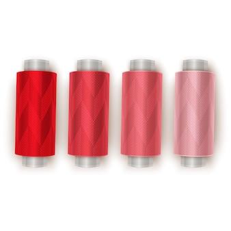 Kolorowe nici do szycia na białym tle, przejście gradientowe od czerwonego do jasnoczerwonego, widok z góry. ilustracja