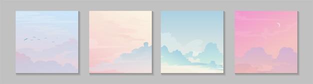 Kolorowe niebo ustawić kartkę z życzeniami. twórcze pastelowe niebo z chmurami.