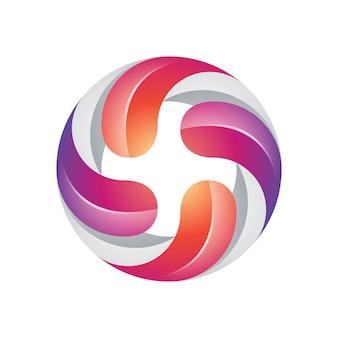 Kolorowe nowoczesne cztery skręcone logo