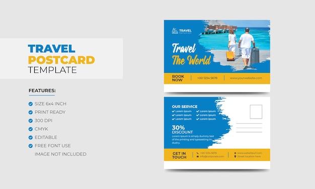 Kolorowe nowoczesne kreatywne wymarzone miejsca na wakacje efekt pędzla szablon projektu pocztówki podróżnej