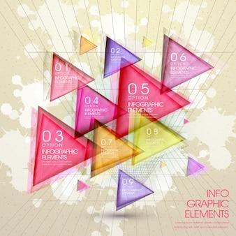 Kolorowe nowoczesne przezroczyste trójkątne elementy abstrakcyjne infografiki