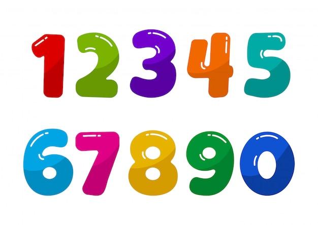 Kolorowe numery czcionek dla dzieci od 1 do 0. ilustracja