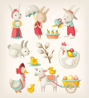 Kolorowe obrazy postaci wielkanocnych i zwierząt na wiosenne wakacje. ilustracje