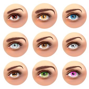 Kolorowe oczy z różnymi uczniami ustawionymi