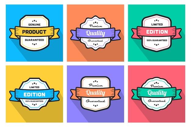 Kolorowe odznaki e-commerce z gwarancją jakości premium w edycji limitowanej oryginalnego produktu