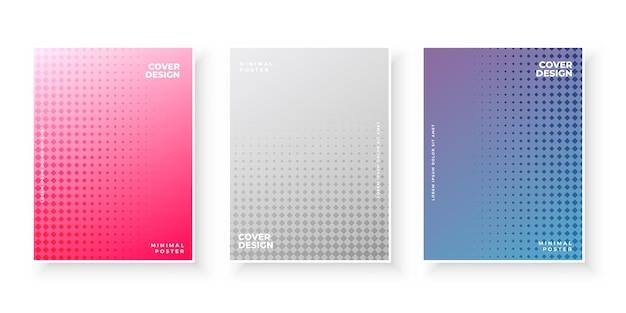 Kolorowe okładki gradientowe z zestawem do projektowania kropek