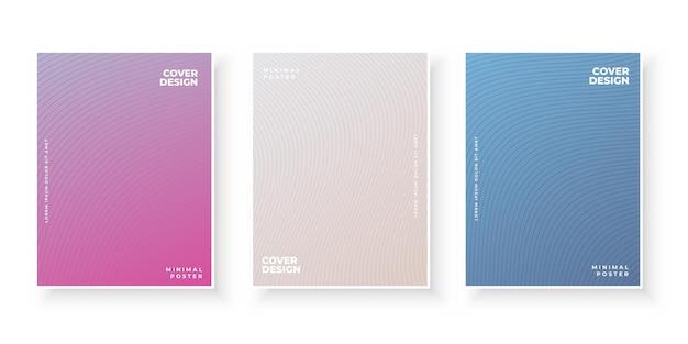Kolorowe okładki gradientowe z zestawem wzorów linii