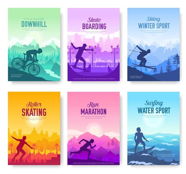 Kolorowe okładki z różnymi zestawami kart na dzień odpoczynku sportowego. ekstremalne na szablonie natury książek, banerów.