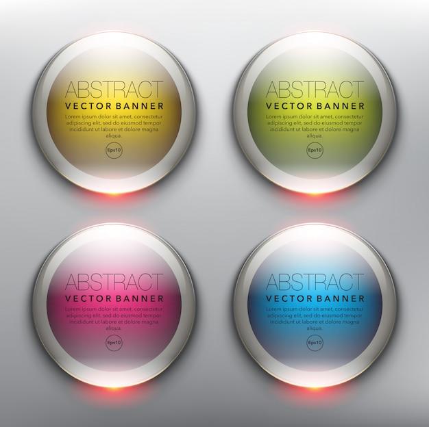 Kolorowe okrągłe szklane banery. odosobniony