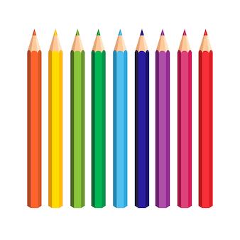 Kolorowe ołówki ustawione na białym tle